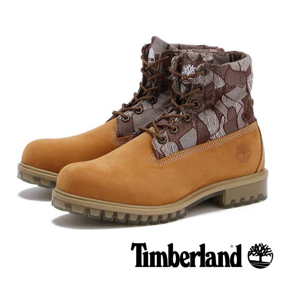 Timberland 小麥黃麂皮幾何翻領中筒靴-男款