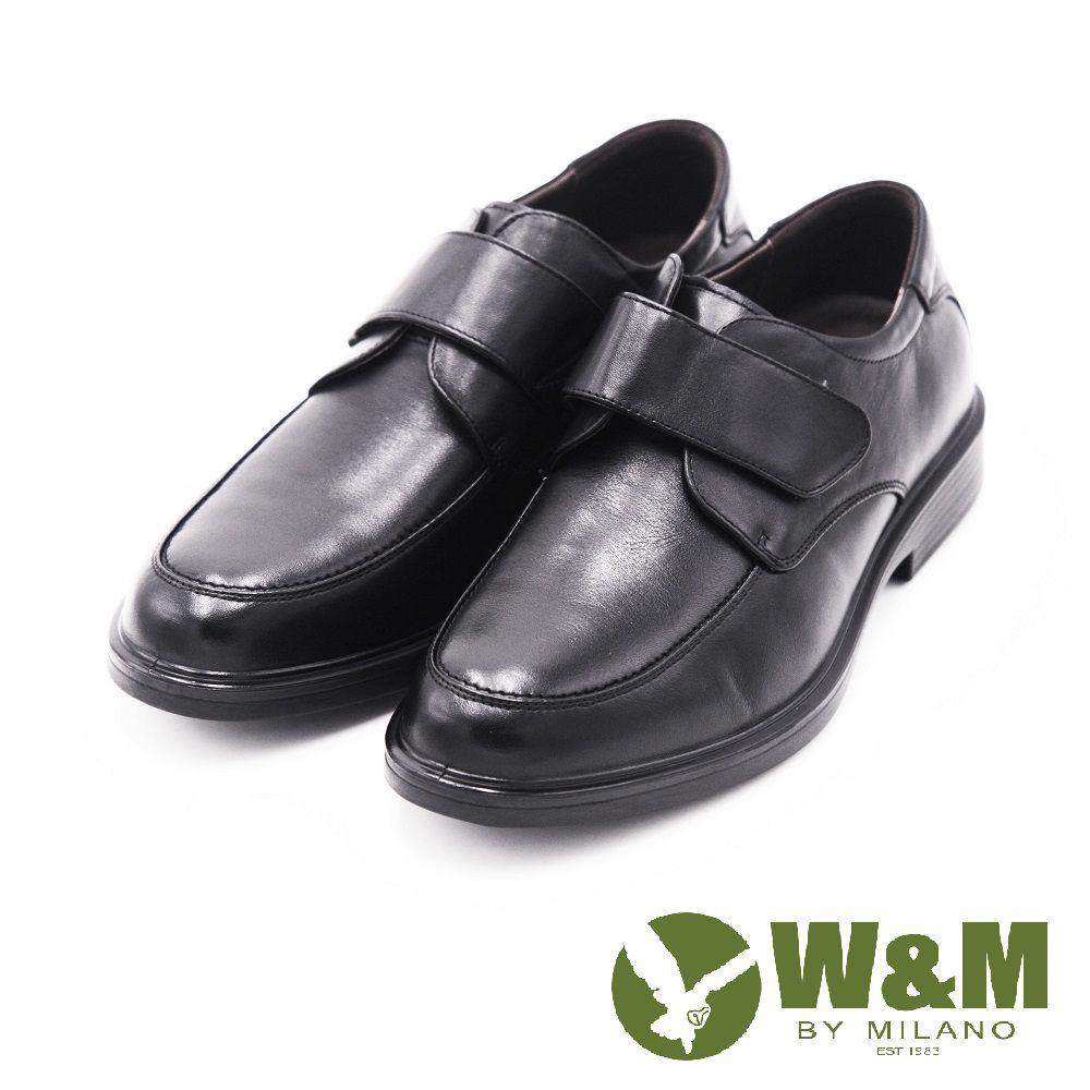 【W&M】正装休闲素色魔鬼沾皮鞋 男鞋-黑