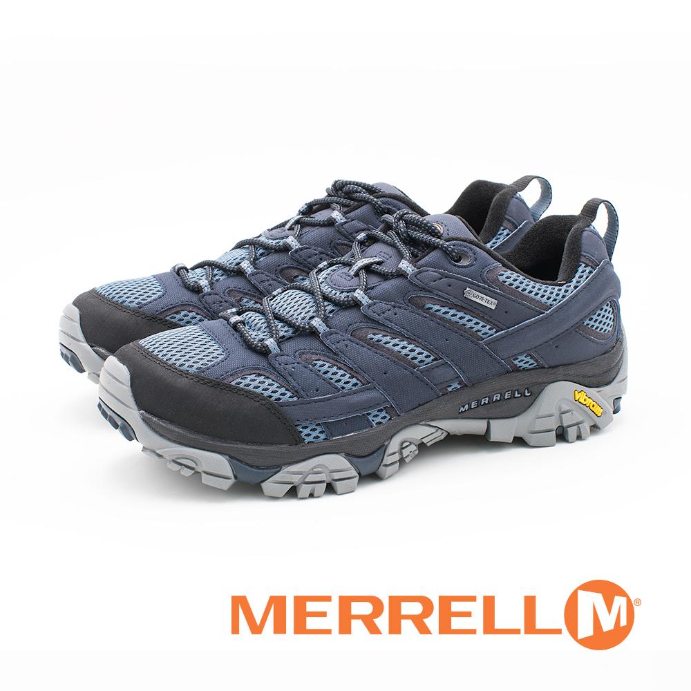 MERRELL(男)MOAB 2 GORE-TEX®HIKING郊山健行鞋 男鞋-灰蓝色(另有浅棕咖)