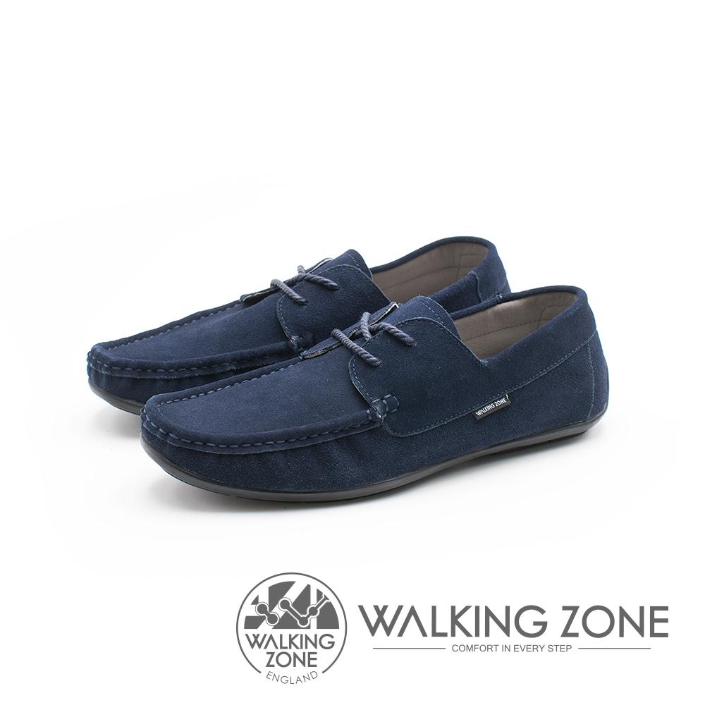 WALKING ZONE 极简雅痞懒人鞋休闲鞋 鞋带造型基本款 男鞋-蓝(另有咖)