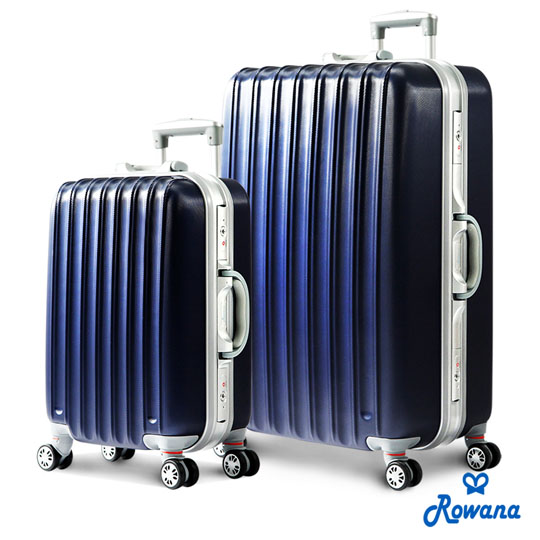 【Rowana】经典直条铝框旅行箱20+28吋 (绅士蓝)
