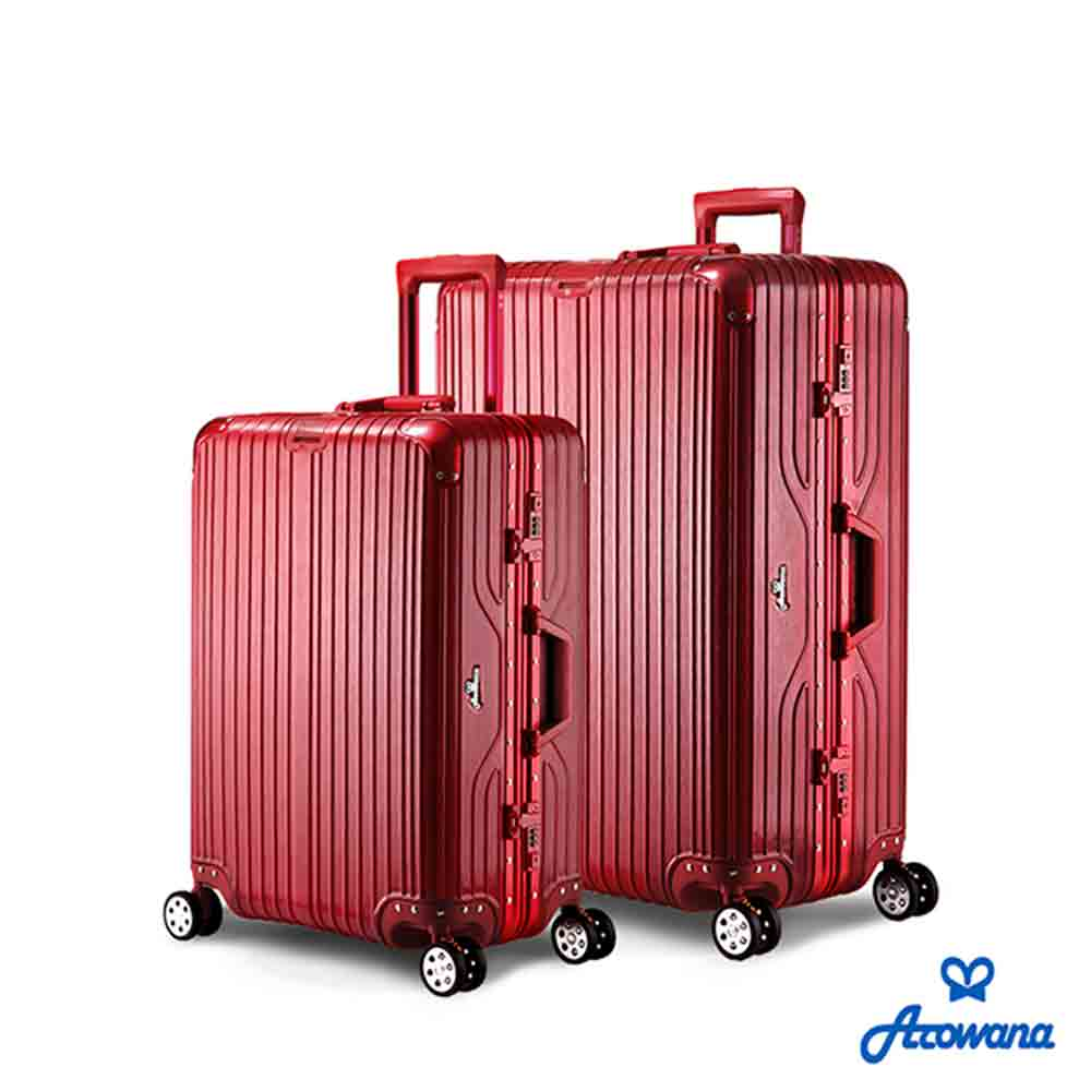 Rowana 闪耀律动立体拉丝轻量铝框行李箱 25+29吋(甜酒红)