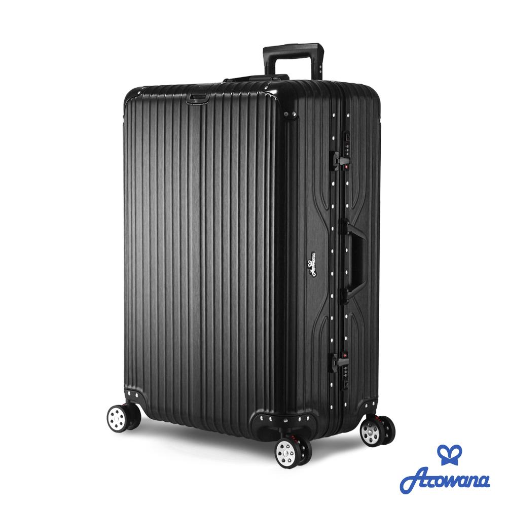 Rowana 闪耀律动立体拉丝轻量铝框行李箱 29吋(曜石黑)