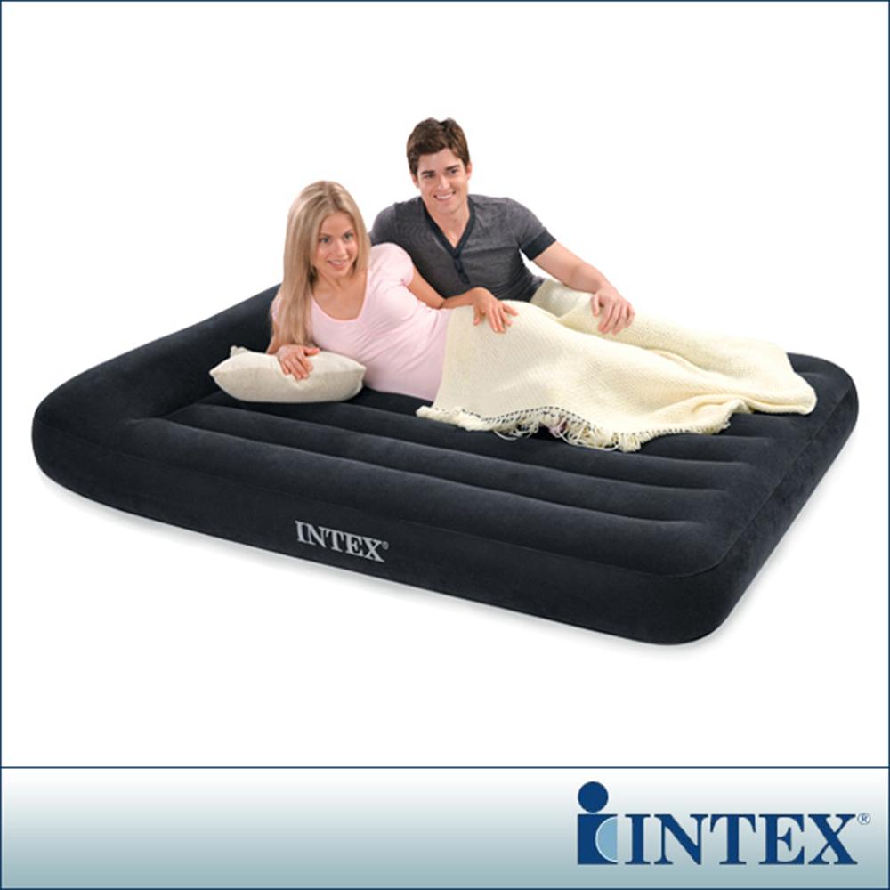 INTEX《舒適型》雙人植絨充氣床墊(寬137cm)-有頭枕(66768)