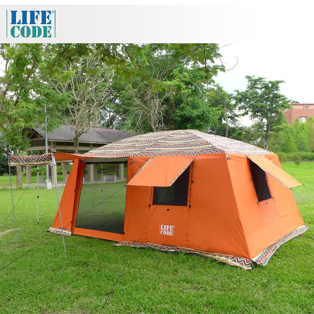 【LIFECODE】民族风《二房一厅》多用途超大4-8人帐篷(三门三窗)-桔色