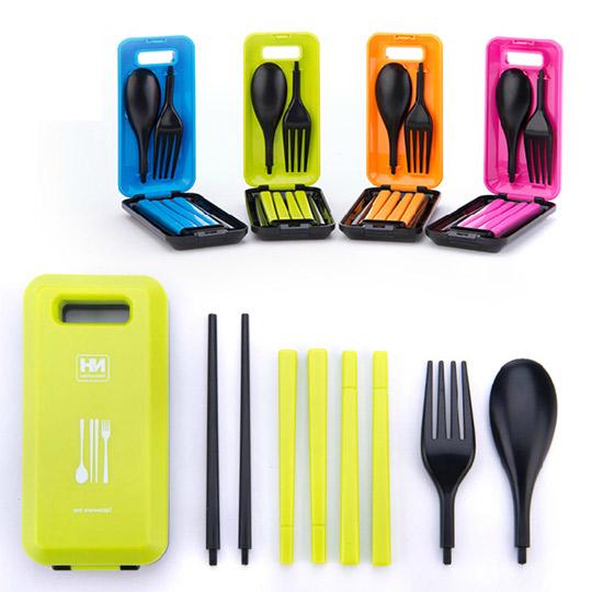 PUSH! 餐具 炫彩多功能餐具組有 筷子湯匙叉子一入