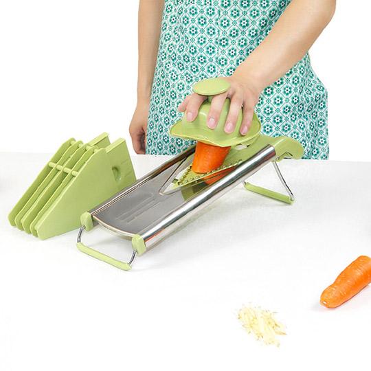 PUSH! 厨房用品 防切手5插片替换式不锈钢刨丝器切菜器(含磨具置放架)