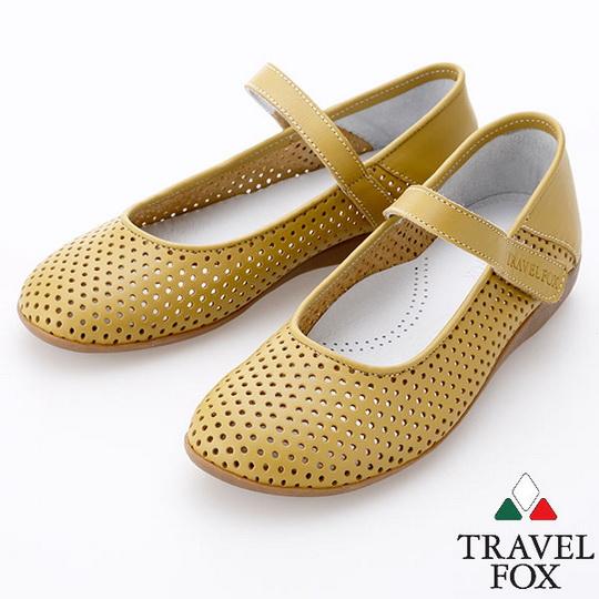 Travel Fox 甜心洞洞娃娃鞋914310 芥末~83  女款