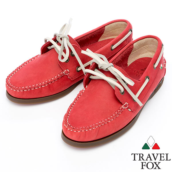 Travel Fox STYLE~反毛皮帆船鞋914828 紅~04  女款