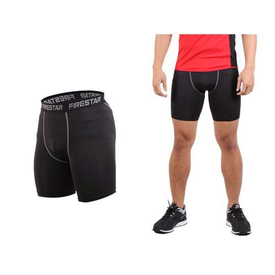 FIRESTAR 男机能紧身短裤-慢跑 路跑 运动短裤  黑灰@N3802-13@