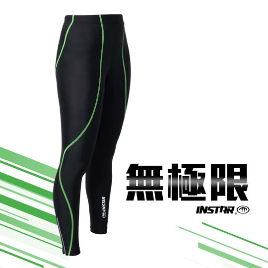 INSTAR 男女極速緊身長褲-緊身褲 台灣製 慢跑 路跑 內搭褲 黑螢光綠@3121104@