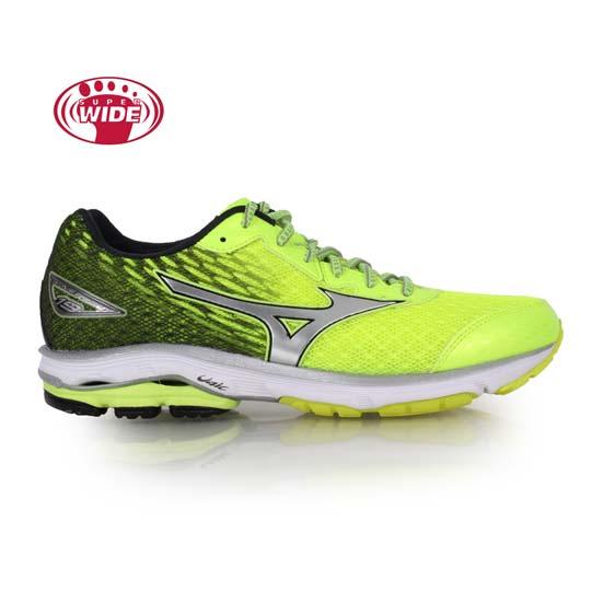 MIZUNO WAVE RIDER 19 男慢跑鞋-2E-寬楦 路跑 螢光黃黑@J1GC160405