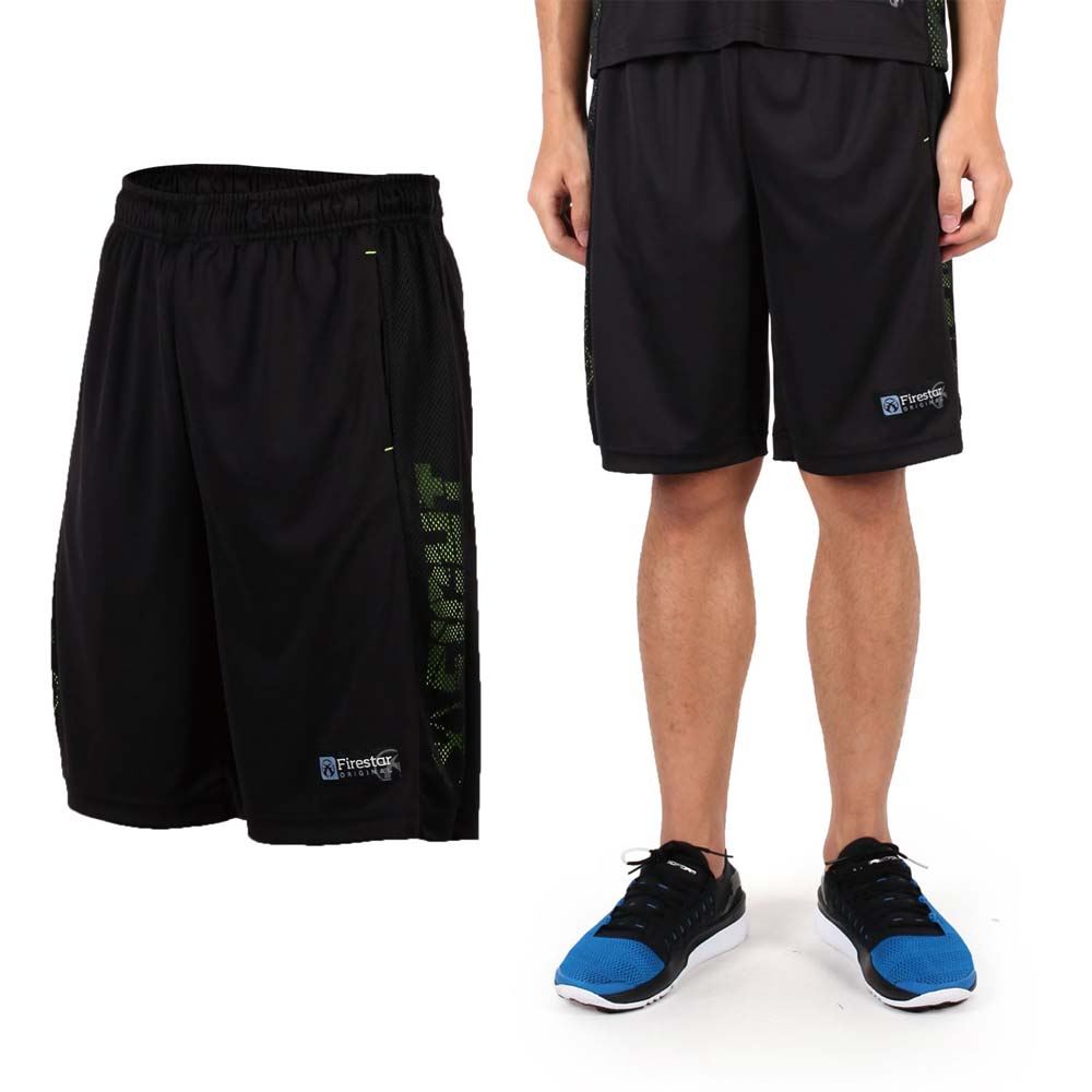 FIRESTAR 男吸排篮球裤-运动短裤 休闲短裤 黑绿@B6301-10@