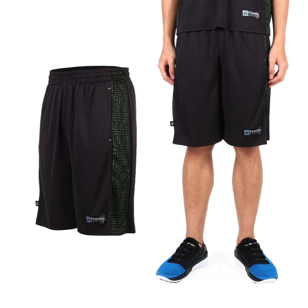 FIRESTAR 男吸排篮球裤-运动短裤 休闲短裤 黑萤光绿@B6305-10@