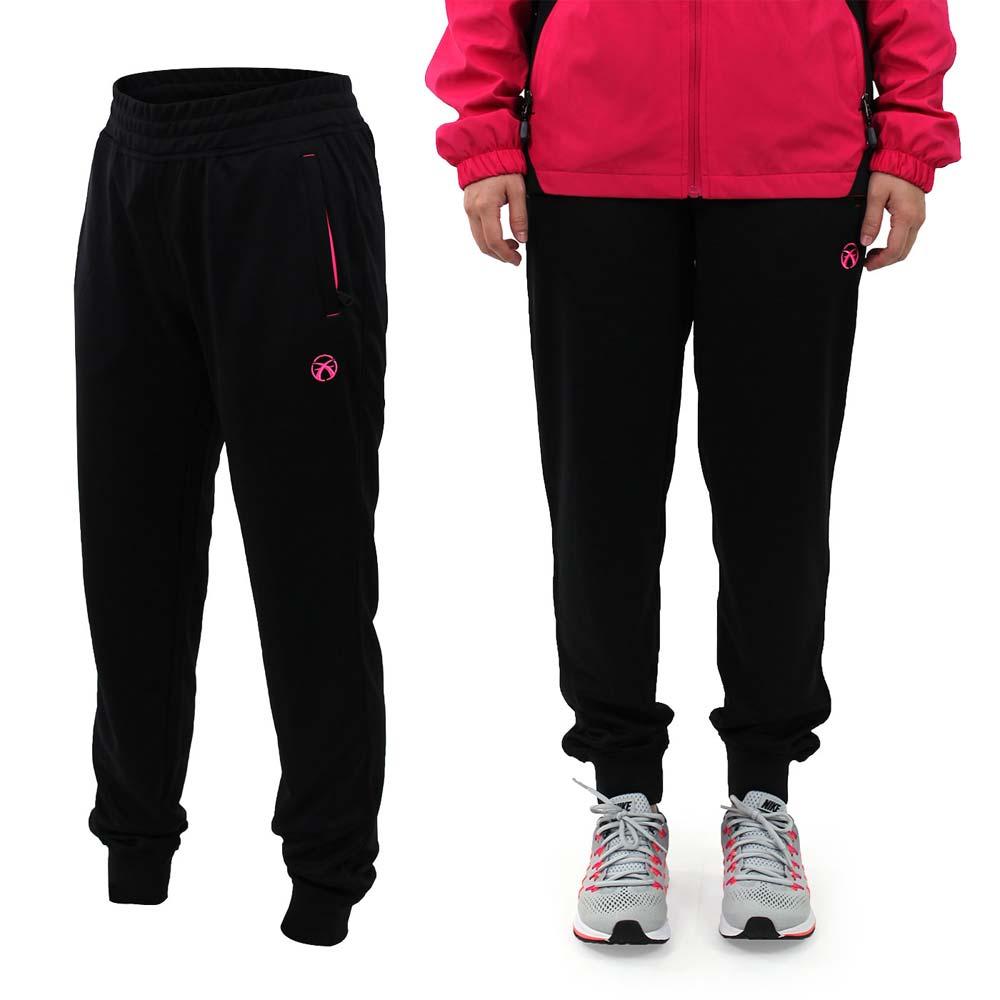 FIRESTAR 女吸排針織長褲~慢跑 路跑 訓練 黑螢光粉紅~PL685~10~