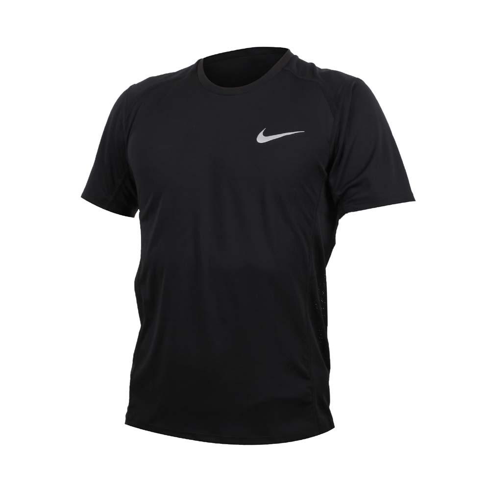 NIKE 男短袖针织衫-短T T袖 慢跑 路跑 训练 健身 反光 黑银@833592010@