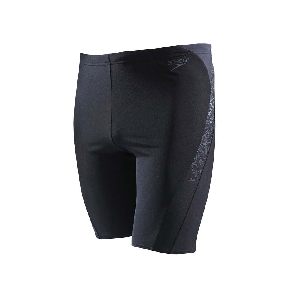 SPEEDO BOOM SPLICE 男运动及膝泳裤-游泳 海边 四角泳裤 黑灰@SD810856B443@