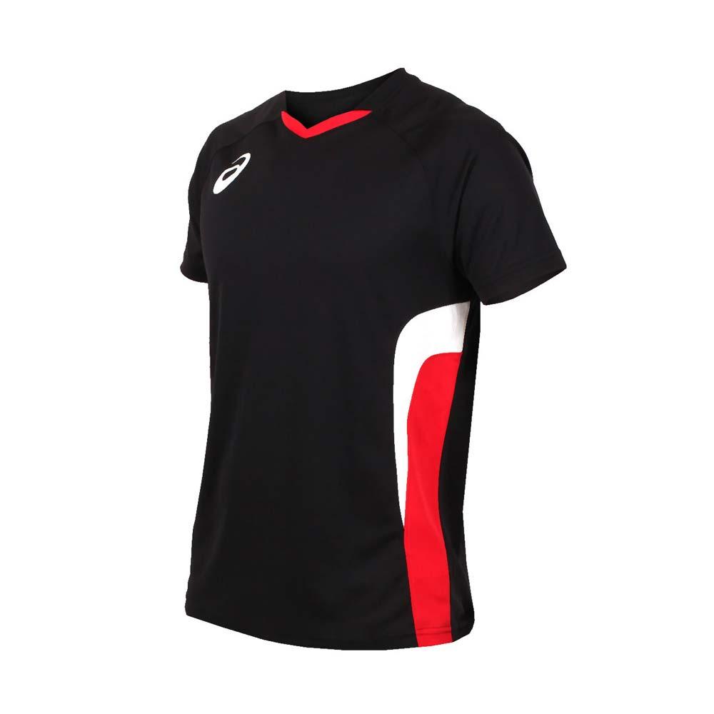 ASICS 男女排球短袖上衣-短T T恤 亚瑟士 黑红白@K11703-9023@