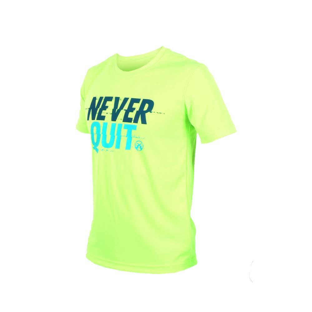 FIRESTAR 男吸排圆领短袖-短T T恤 慢跑 路跑 萤光绿蓝@D7635-63@