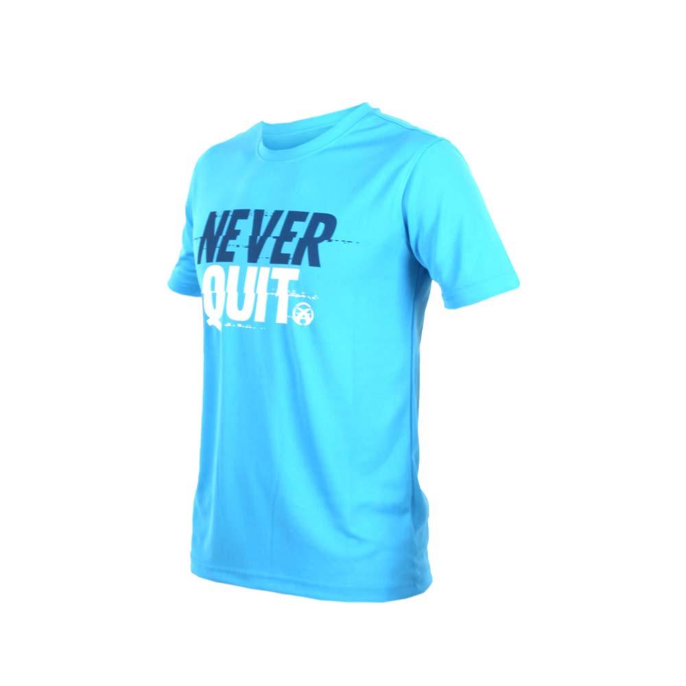FIRESTAR 男吸排圆领短袖-短T T恤 慢跑 路跑 水蓝白@D7635-95@