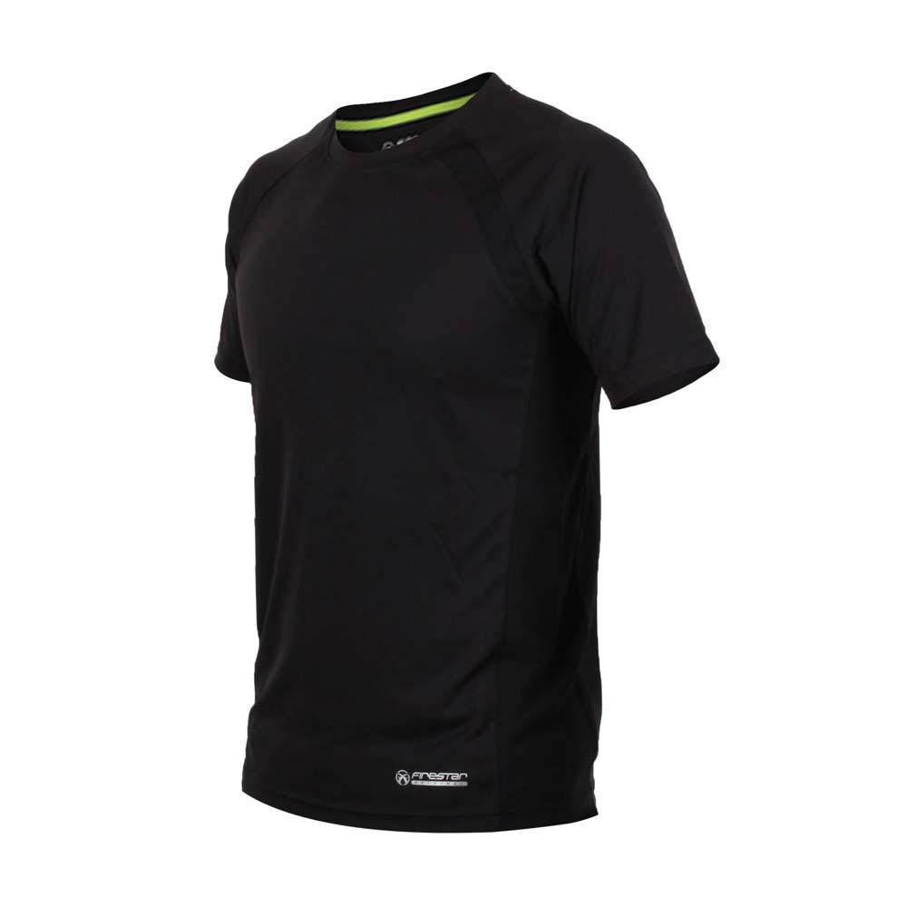 FIRESTAR 男短袖吸排圆领衫-短T T恤 慢跑 路跑 黑萤光绿@D7631-10@