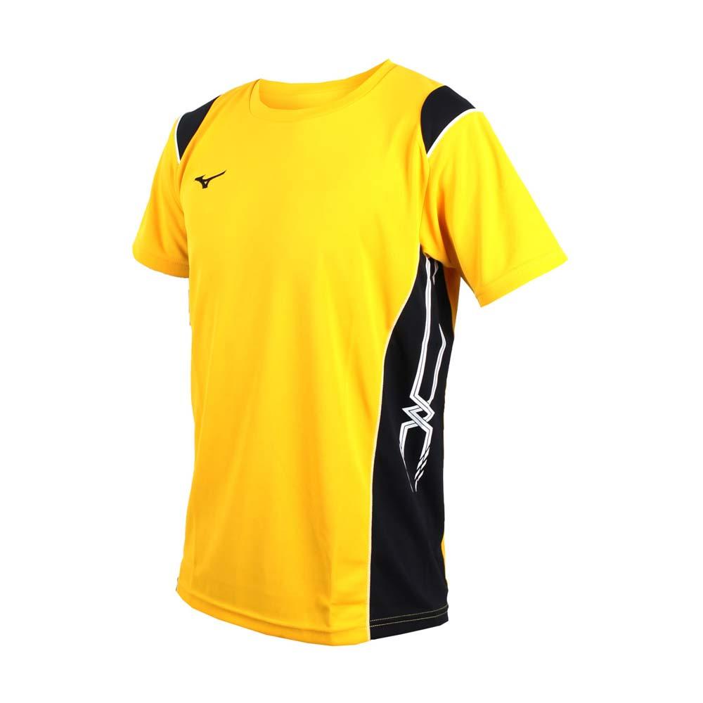 MIZUNO 男排球短袖上衣-短T恤 排球 美津浓 黄黑@V2TA7G1643@
