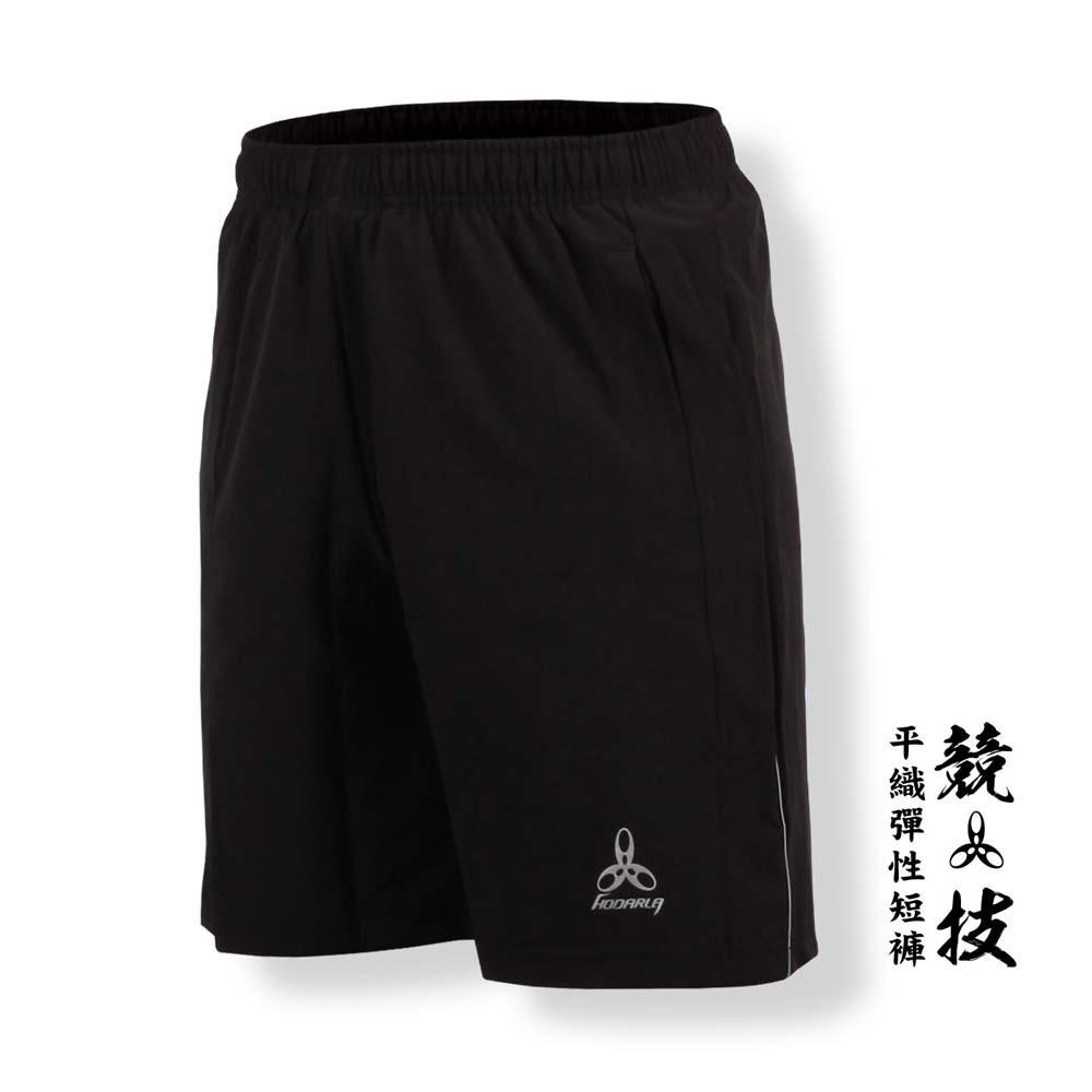 HODARLA 男-競技平織彈性短褲-慢跑 路跑 台灣製 黑@3139003@