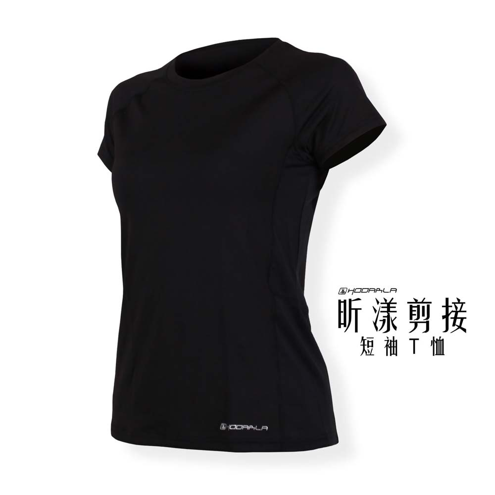 HODARLA 女昕漾剪接短袖T恤-路跑 慢跑 健身 短袖上衣 台灣製 黑@3139201@
