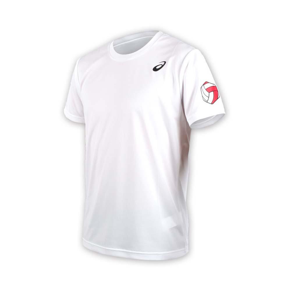 ASICS 男排球短袖印花T恤-短T  亚瑟士 白黑红@XW6735-01A@