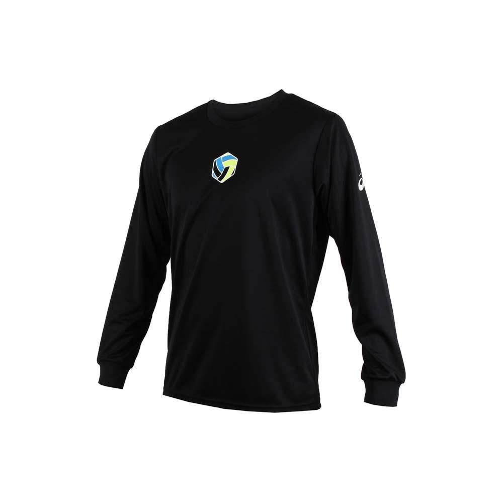 ASICS 男排球长袖印花T恤-亚瑟士 黑绿蓝@XW6736-90D@