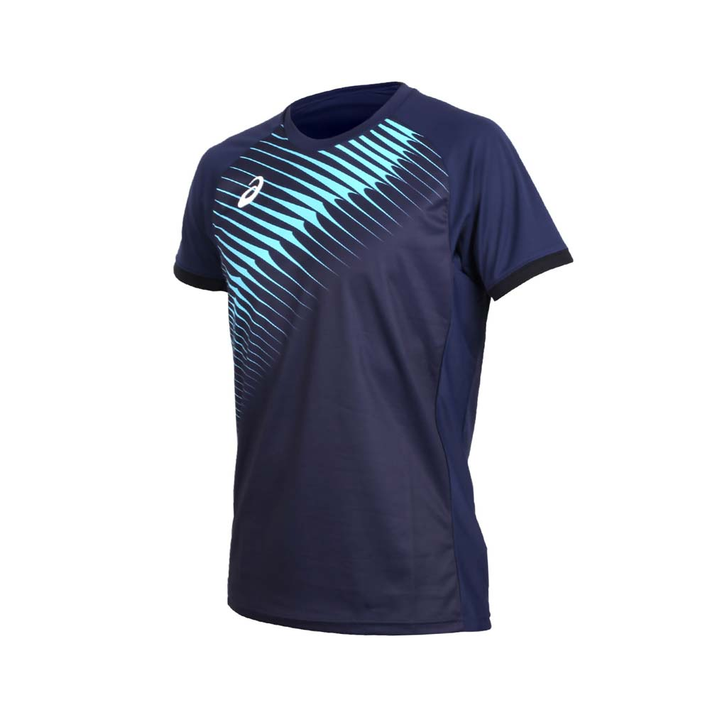 ASICS 男短袖排球印花T恤-短T T恤 亚瑟士 丈青水蓝@868A00-0804@