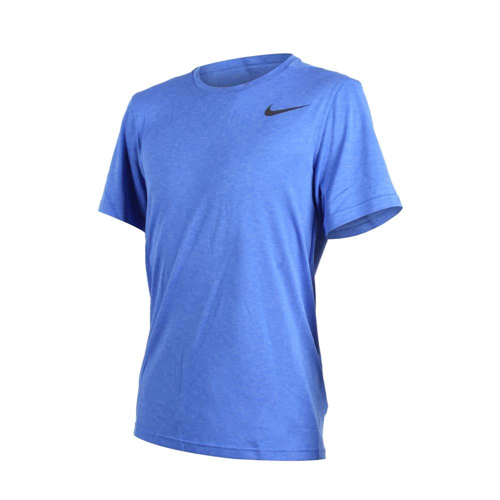 NIKE 男短袖上衣-短T T恤 训练 健身 慢跑 路跑 蓝黑@832837461@