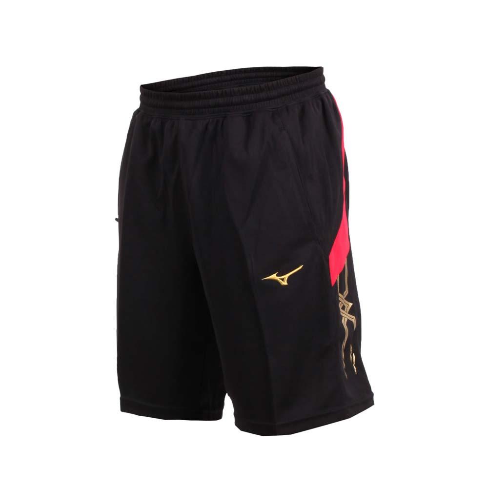 MIZUNO 男针织短裤-五分裤 运动短裤 训练 慢跑 路跑 美津浓 黑红金@32TB800496@