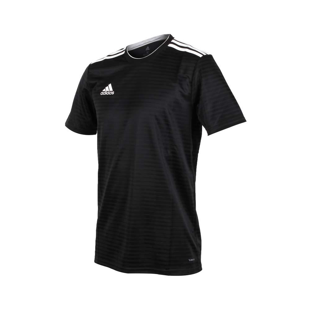 ADIDAS 男短袖足球上衣-爱迪达 慢跑 路跑 T恤 黑白@CF0679@