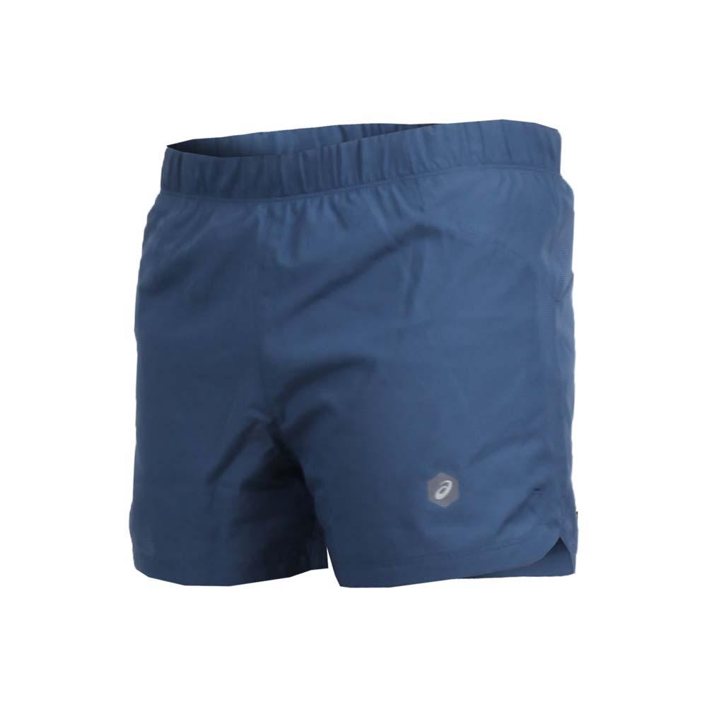 ASICS 男凉感3.5吋平织短裤-慢跑 路跑 亚瑟士 灰蓝@154738-0793@