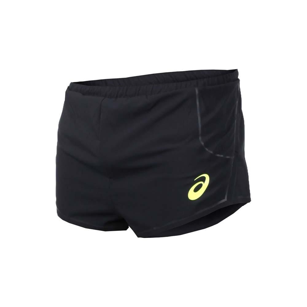 ASICS 男田径平织短裤-慢跑 路跑 黑萤光黄@154376-0904@