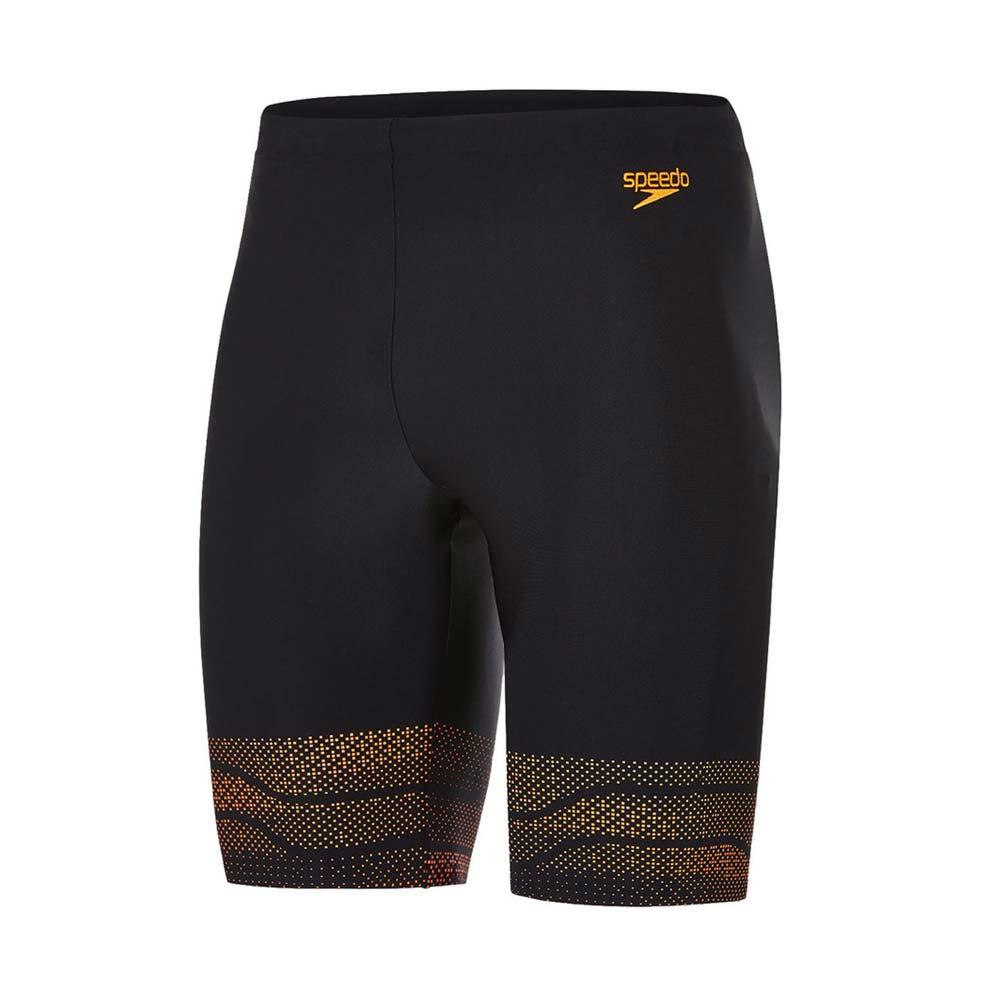 SPEEDO LANE 男运动及膝泳裤-四角泳裤 平口泳裤 游泳 海边 黑橘@SD811359C138@