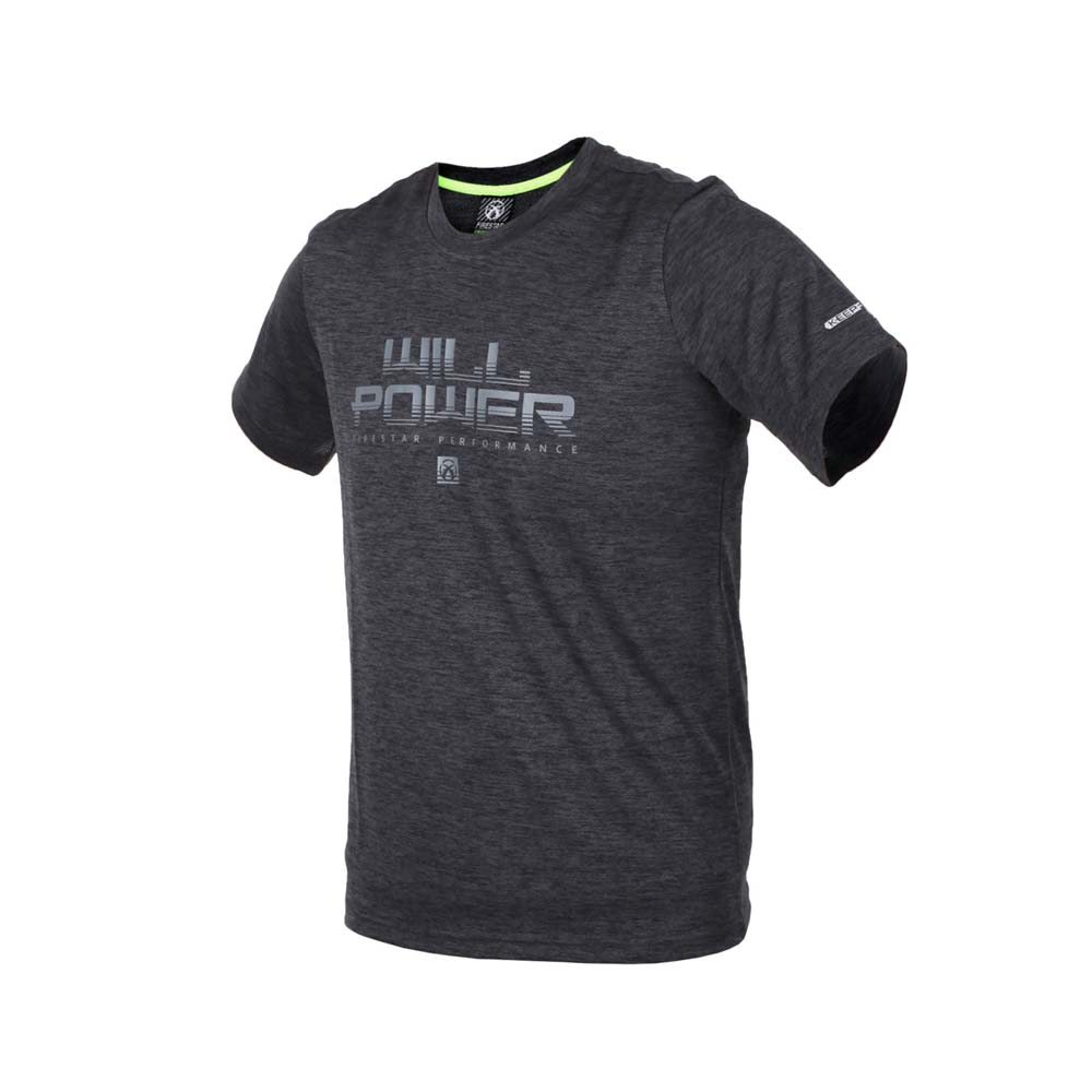 FIRESTAR 男短袖吸排圆领衫-短T T恤 慢跑 路跑 麻花黑灰@D8035-19@