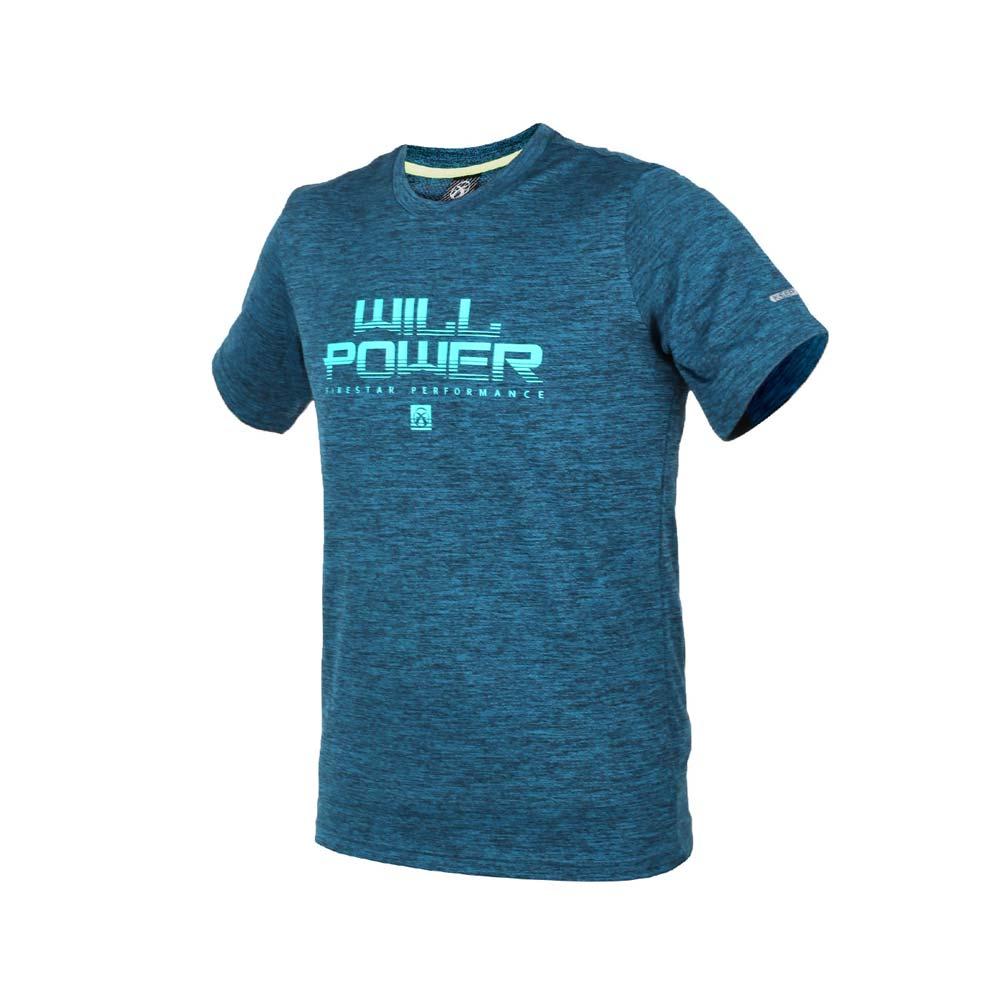FIRESTAR 男短袖吸排圆领衫-短T T恤 慢跑 路跑 蓝绿@D8035-98@