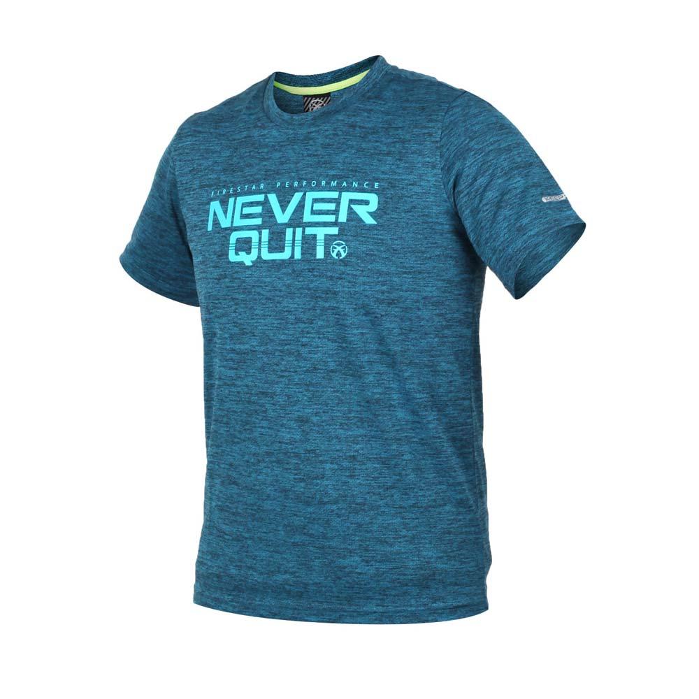 FIRESTAR 男短袖吸排圆领衫-短T T恤 慢跑 路跑 蓝绿@D8036-98@