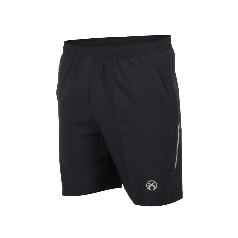 FIRESTAR 男弹性平织五分裤-慢跑 路跑 短裤 黑银@C8015-10@