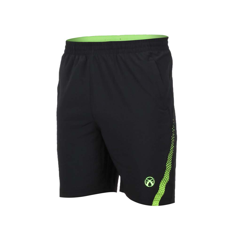 FIRESTAR 男弹性平织五分裤-慢跑 路跑 短裤 黑萤光绿@C8016-63@