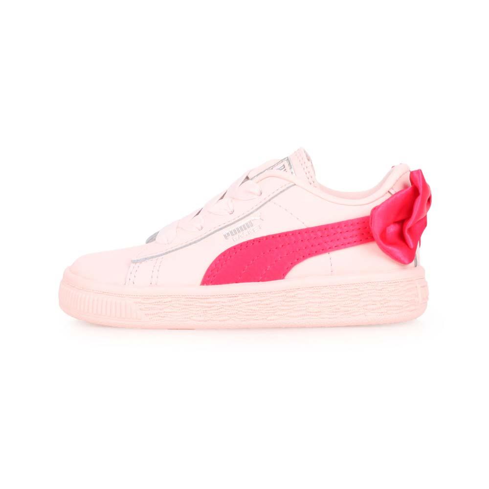 PUMA BASKET BOW AC LNF 女儿童休闲运动鞋-蝴蝶结款-慢跑 粉桃红@36732302@