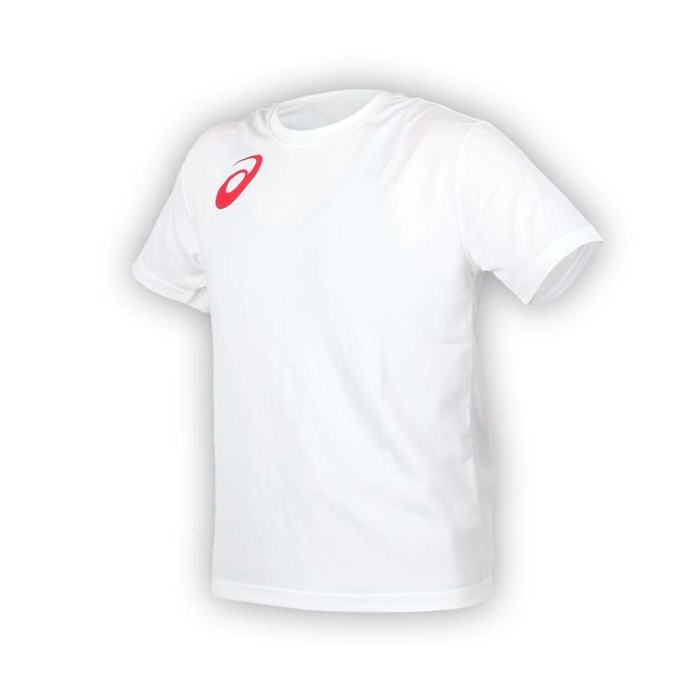 ASICS 男女限量运动排汗LOGO短袖T恤-慢跑 路跑 亚瑟士 白红@K11613-01@