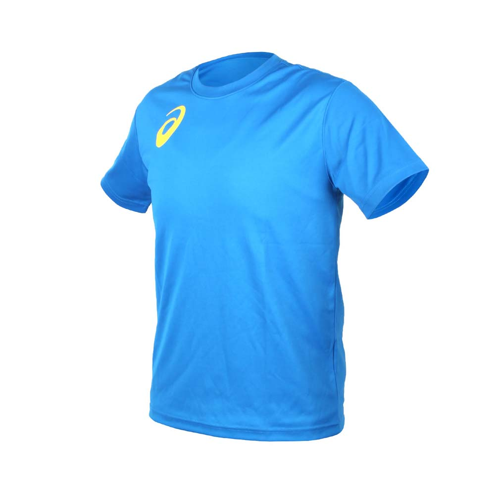 ASICS 男女限量运动排汗LOGO短袖T恤-慢跑 路跑 亚瑟士 宝蓝黄@K11613-43@