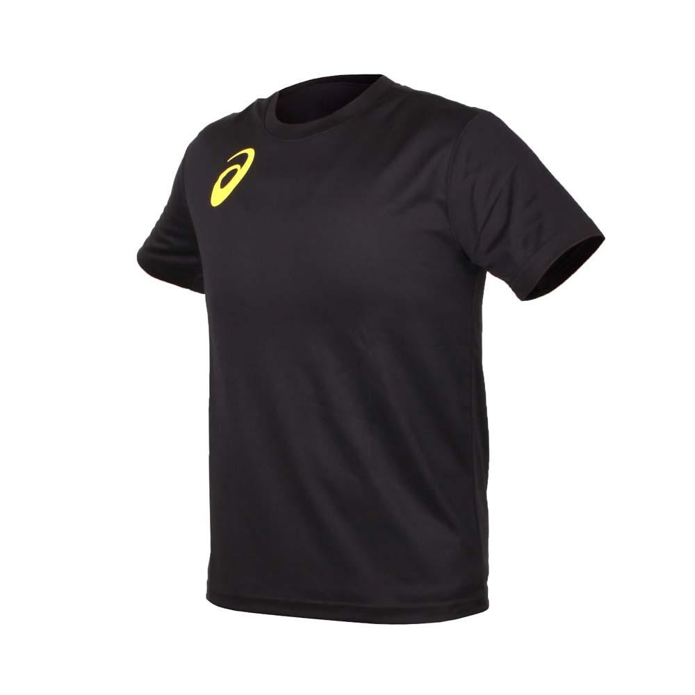 ASICS 男女限量运动排汗LOGO短袖T恤-慢跑 路跑 亚瑟士 黑金黄@K11613-90@