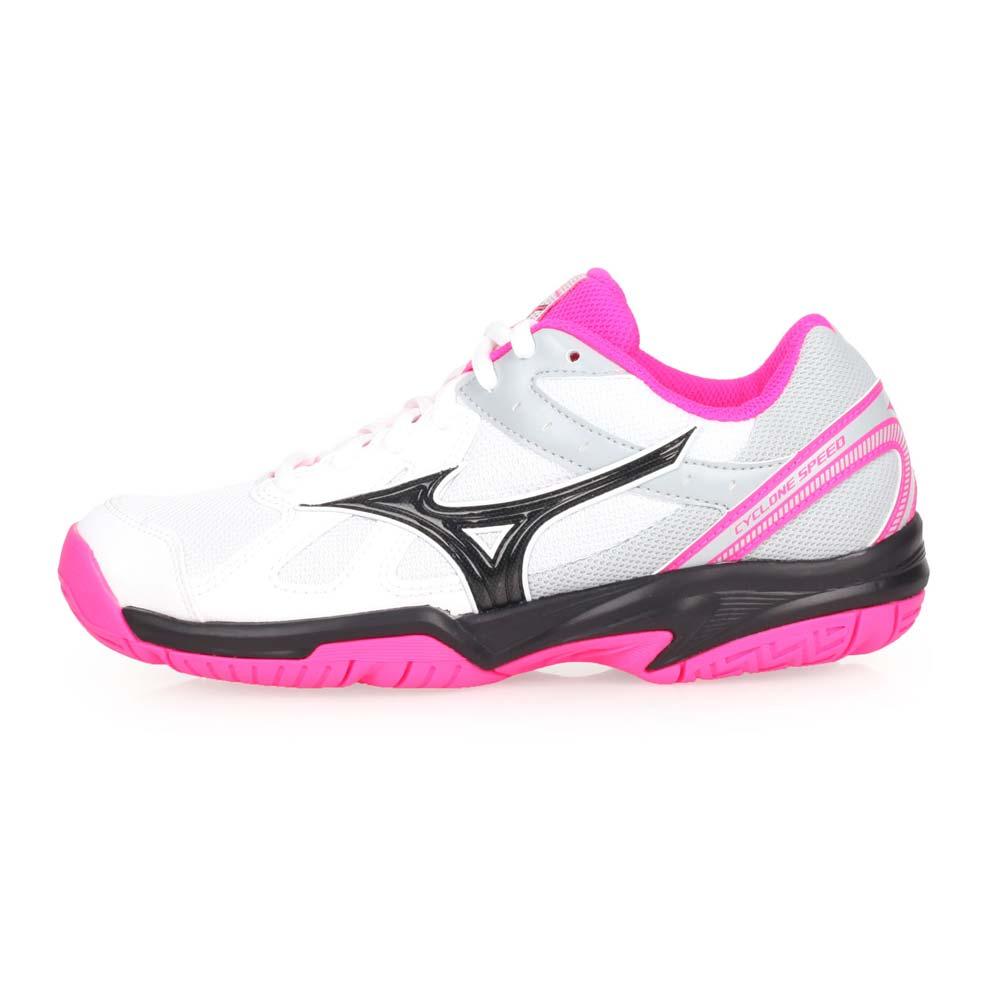 MIZUNO CYCLONE SPEED 女排球鞋-美津浓 白灰黑粉@V1GC178063@