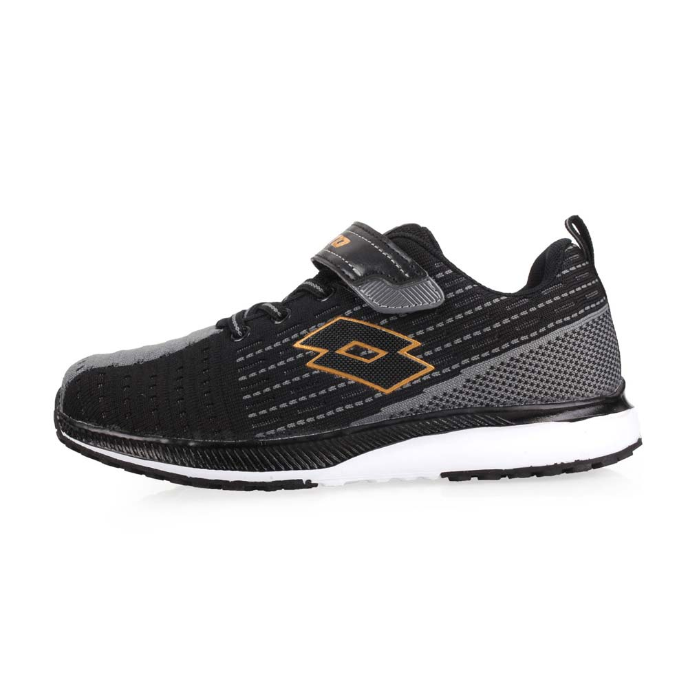 LOTTO 男童针织轻量慢跑鞋-路跑 训练 魔鬼毡 反光 童鞋 黑灰金@LT8AKR6710@