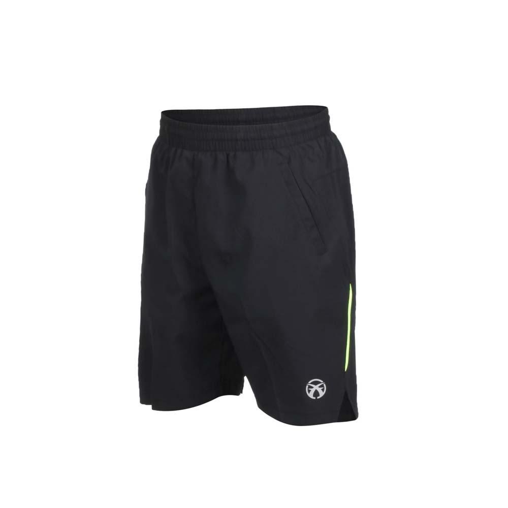 FIRESTAR 男轻量平织短裤-慢跑 路跑 黑萤光绿@C8017-63@