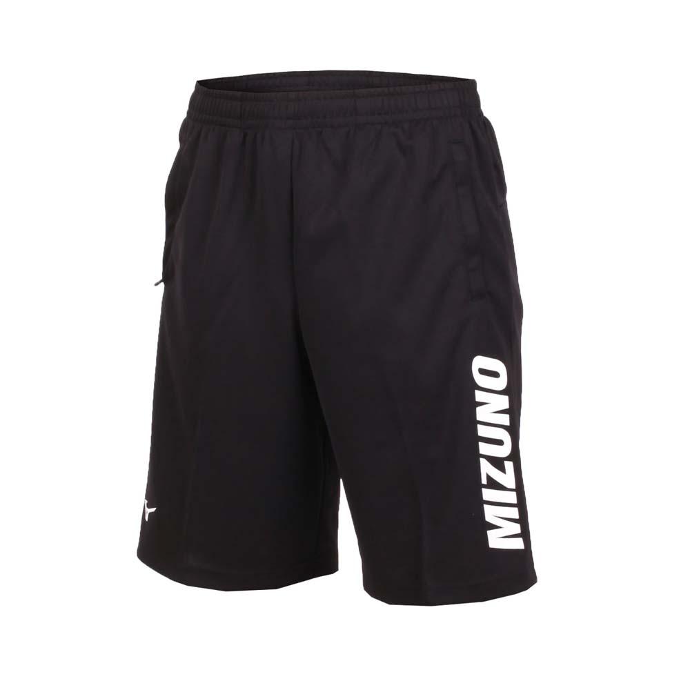 MIZUNO 男针织短裤-五分裤 运动短裤 慢跑 训练 路跑 美津浓 黑白@32TB850209@